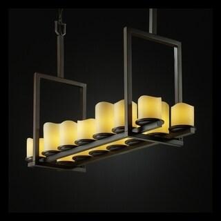 Justice Design Group CandleAria Dakota 14-light Dark Bronze Chandelier, Cream Cylinder - Melted Rim Shade