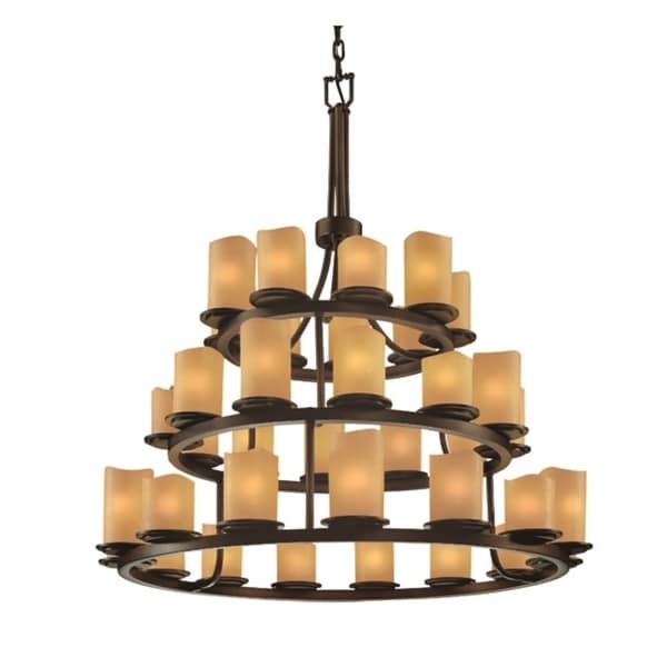 Justice Design Group CandleAria Dakota 36-light Dark Bronze Chandelier, Amber Cylinder - Melted Rim Shade