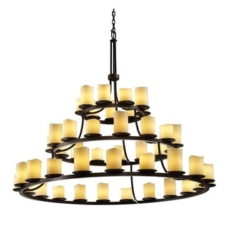 Justice Design Group CandleAria 45-light Cream with Dark Bronze Chandelier