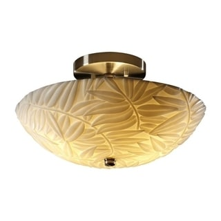 Justice Design Group Porcelina 2-light 14-inch Round Brushed Nickel Semi-flush