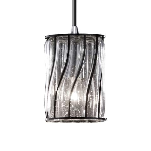 Justice Design Wire Glass 1-light Polished Chrome Pendant, Swirl w/ Clear Bubbles - Cylinder w/ Flat Rim Shade