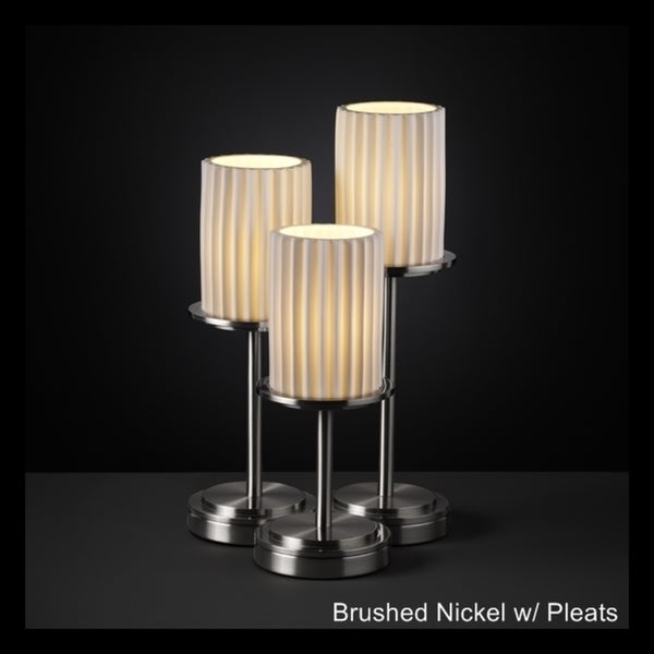 Justice Design Group Limoges Dakota 3-light Brushed Nickel Table Lamp