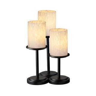 Justice Design Group Fusion Dakota 3-light Matte Black Table Lamp, Droplet Cylinder - Flat Rim Shade