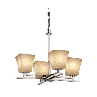 Justice Design Fusion Aero 4 Light Polished Chrome Chandelier Weave Square Flared Shade On Sale Overstock 9076039