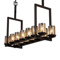 Justice Design Group Fusion Dakota 14-light Dark Bronze Chandelier, Mercury Cylinder - Flat Rim Shade