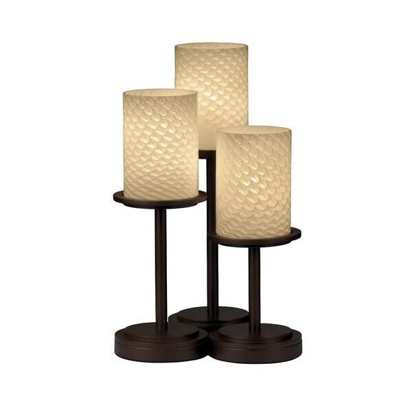 Justice Design Group Fusion Dakota 3-light Dark Bronze Table Lamp, Weave Cylinder - Flat Rim Shade