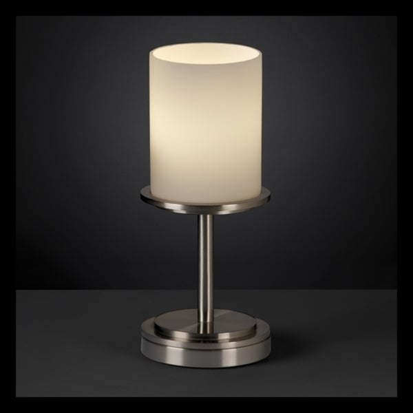 Justice Design Group Fusion Dakota 1-light Brushed Nickel Table Lamp, Short Opal Cylinder - Flat Rim Shade