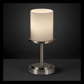 Justice Design Group Fusion Dakota 1-light Brushed Nickel Table Lamp, Short Opal Cylinder - Flat Rim Shade