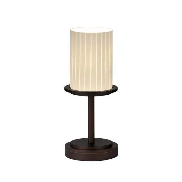 Justice Design Group Fusion Dakota 1-light Dark Bronze Table Lamp, Short Ribbon Cylinder - Flat Rim Shade
