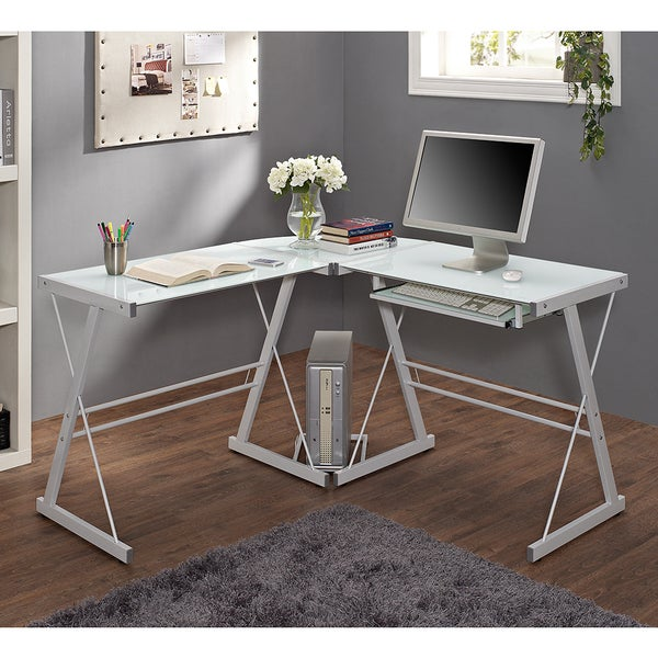 White Glass Metal Corner Computer Desk Free Shipping