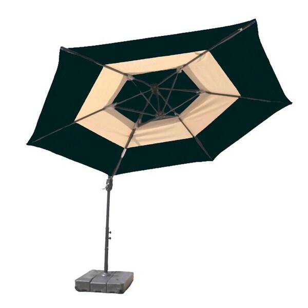 10-Foot Green and Tan Umbrella and Base