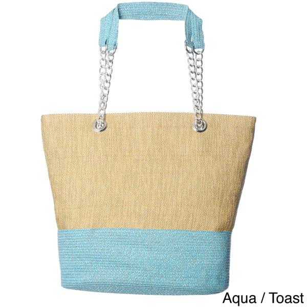 Magid Women's Colorblocked Paper Straw Tote Bag