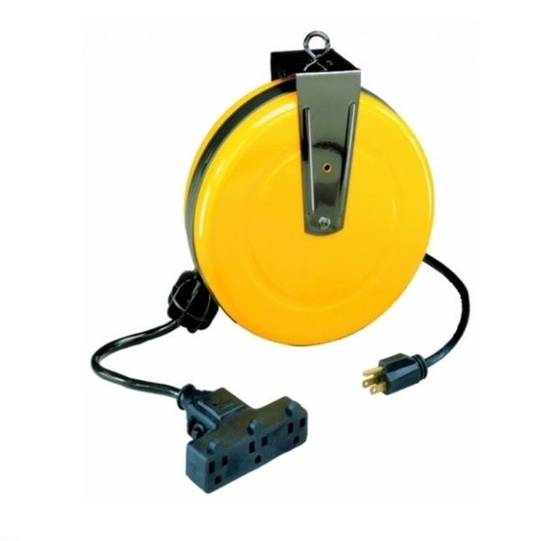 Bayco Triple Tap Extension Cord 30 39 Retractable Reel Sl