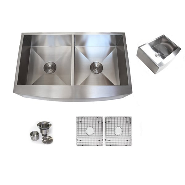 36-inch Stainless Steel Farmhouse Double-bowl Curve Apron Kitchen Sink