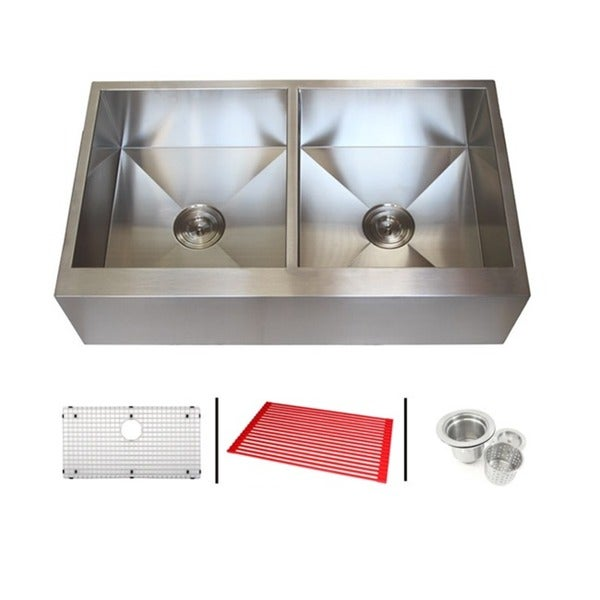 36 Inch Stainless Steel Farmhouse Double Bowl Flat Apron Kitchen Sink Combo