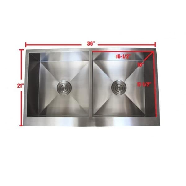 36 Inch Stainless Steel Farmhouse Double Bowl Flat Apron Kitchen Sink Combo    Free Shipping Today   Overstock.com   16268311