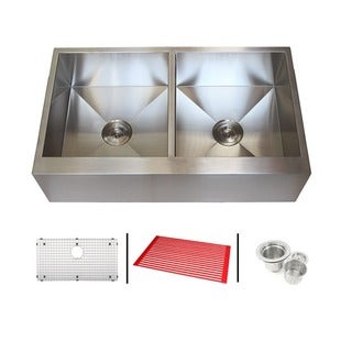 36 inch stainless steel farmhouse double bowl flat apron kitchen sink combo - Apron Kitchen Sinks