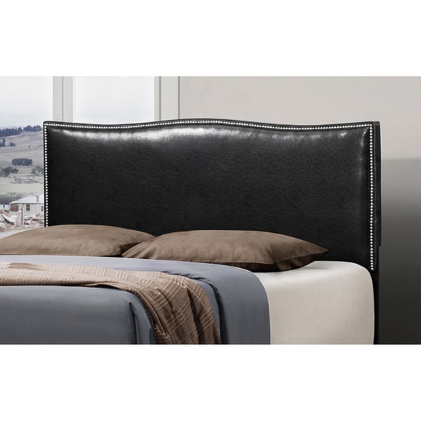 Black Leather Curved Queen Size Nailhead Headboard Free