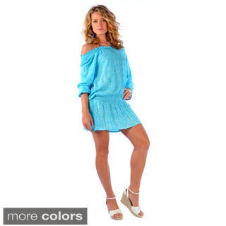1 World Sarongs Women's Long Sleeve Off-shoulder Short Cover-up Dress (Indonesia)