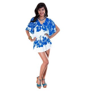 1 World Sarongs Women's Split-sleeve V-neck Cover-up Mini Dress (Indonesia)
