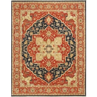 Hand-knotted Heriz Serapi Rust Blue Vegetable Dyes Wool Rug (6' x 9')