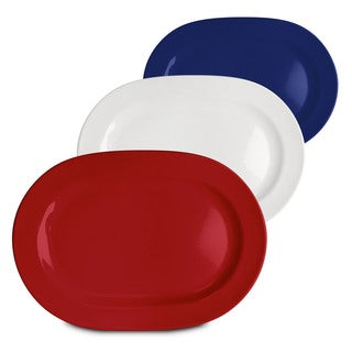 Waechtersbach Fun Factory Red White and Blue Oval Platters (Set of 3)