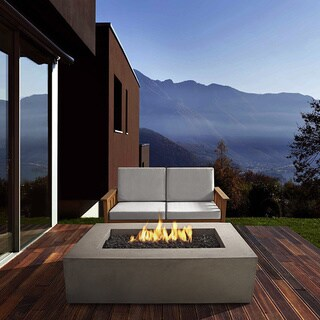 Real Flame Glacier Grey Baltic Rectangle LP Fire Table