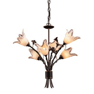 Fioritura 6-light Aged Bronze/ Hand Blown Tulip Glass Chandelier