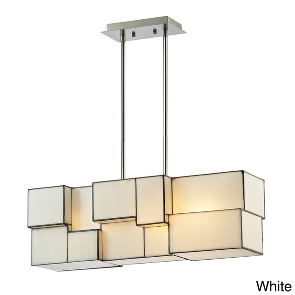 4 Light Cube Art Glass Geometric Chandelier