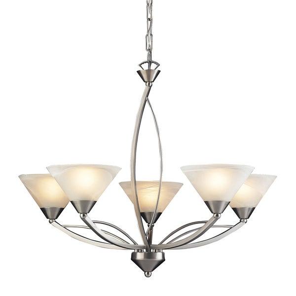 elysburg satin nickel and marblized white glass 5light chandelier