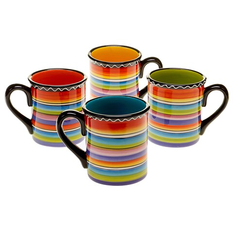 Tequila Sunrise 18-ounce Assorted Striped Ceramic Mug (Set of 4)