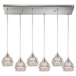 Kersey Satin Nickel and Textured Glass 6-light Line Chandelier