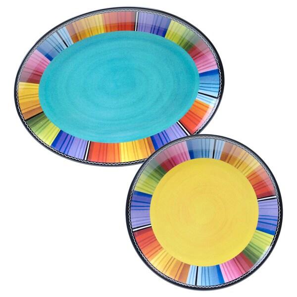 Serape Multicolored 2-piece Melamine Platter Set