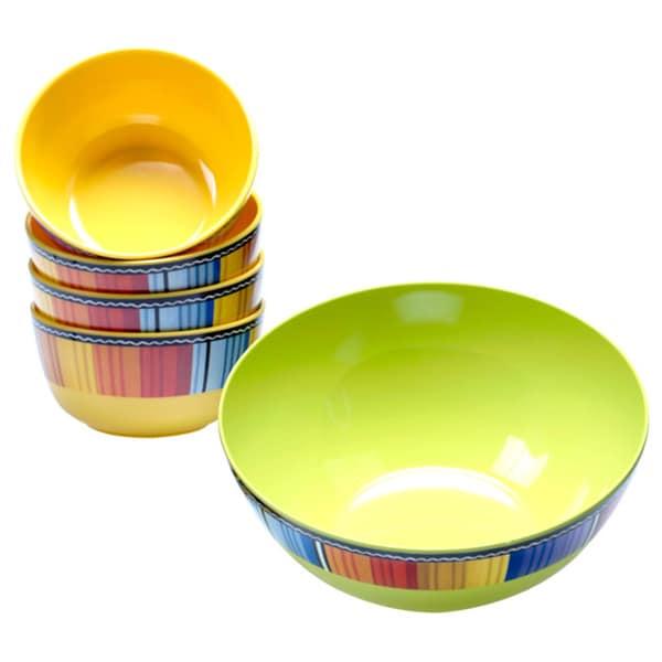 Serape Multicolored Melamine 5-piece Salad Serving Set