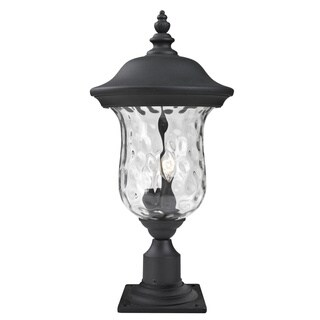 Avery Home Lighting Waterglass Armstrong Outdoor Black/ Clear 3-light Post Mount