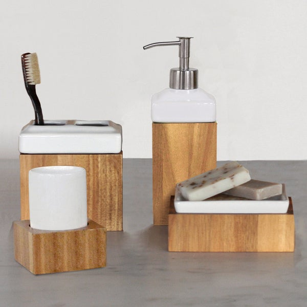 Ravine 4 piece bath accessory set or wastebasket free for Bathroom wastebasket sets