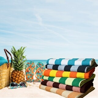 Towels Beyond Cabana Stripe Luxury Oversized Turkish Cotton Beach Towel