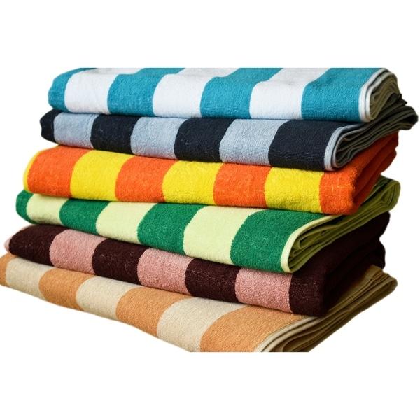 Towels Beyond Cabana Stripe Luxury Oversized Turkish Cotton Beach Towel