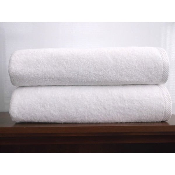 Salbakos Arsenal White Turkish Cotton Jumbo Bath Sheet (Set of 2)
