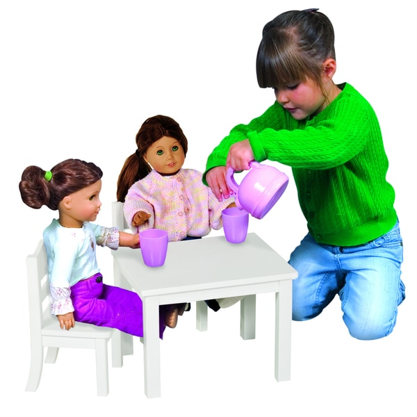 Guidecraft White Doll Table and Chair Set