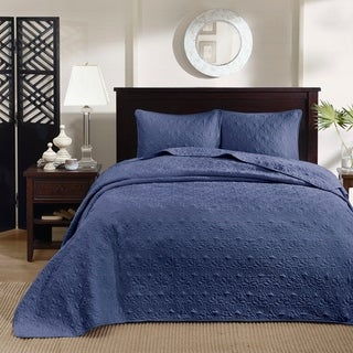 Madison Park Mansfield Reversible Bedspread Set (Twin - Navy)
