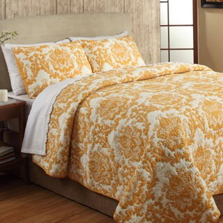 Eloisa Orange Cotton 3-piece Quilt Set