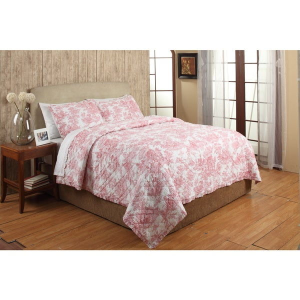 French Toile Red Cotton 3-piece Quilt Set - On Sale - Free ... : overstock quilts king - Adamdwight.com