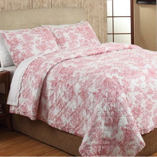 French Toile Red Cotton 3-piece Quilt Set (2 options available)