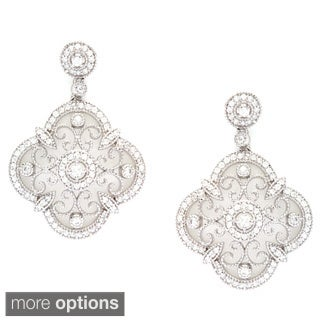 La Preciosa Sterling Silver Designed Cubic Zirconia Earrings