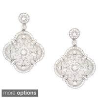 La Preciosa Sterling Silver Designed Cubic Zirconia Earrings