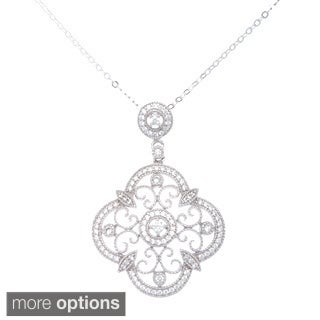 La Preciosa Sterling Silver Filigree Cubic Zirconia Pendant Necklace