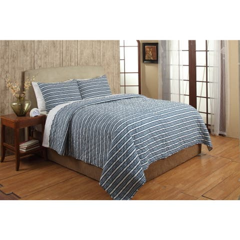 Riker Blue Stripe Cotton 3-piece Quilt Set