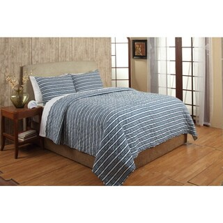 Riker Blue Stripe Cotton 3-piece Quilt Set