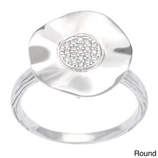 La Preciosa Sterling Silver Cubic Zirconia Wavy Ring